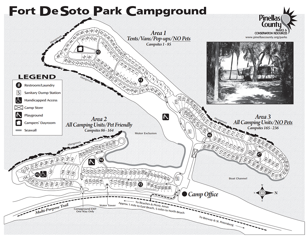 Fort De Soto Park Campground Map from Pinellas County