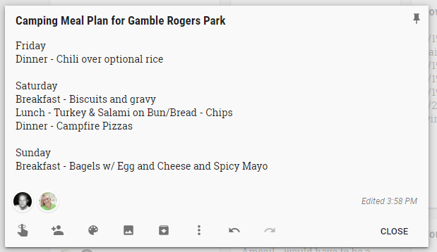 google keep meal plan list for camping preparations